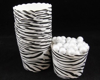 Black Zebra Print  Baking Cups, Candy Cups, Dip Cups, Nut Cups, Weddings, Party Cups, Candy Buffets, Wedding Cupcakes, Favor Cups, QTY 12