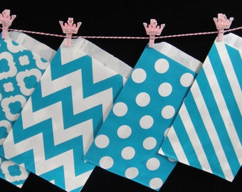 Teal Favor Bags, Candy Buffet Bags, Candy Bags, Bakery Bags, Paper Bags, Birthday Parties, Packaging, Baking Supply, Weddings - Qty 12