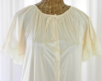 Peignoir Robe Lace Bell Sleeves Full Length Button Front Pristine Size Small by Voila Vintage Lingerie