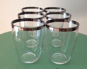 6 Vintage Mid Century Glasses with Silver Rims