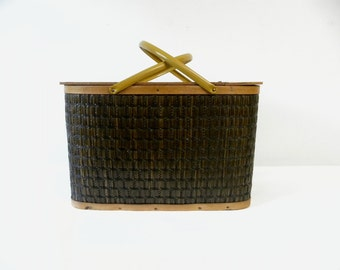 Vintage Large Woven Wicker Picnic Basket