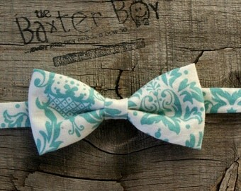 Turquoise Damask little boy bow tie - photo prop, wedding, ring bearer, accessory