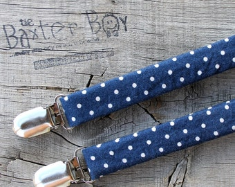 Navy with small white polka dots, little boy suspenders - ring bearer, photo prop, wedding