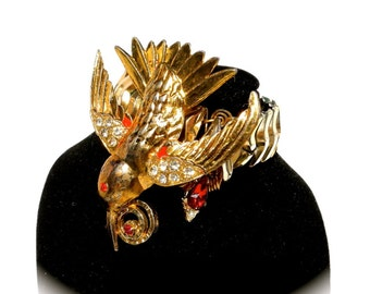 Statement Bracelet, Vintage Hummingbird Repurposed Jewelry by dabchickvintagegems on Etsy