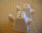 Mini White Coffee Pot Salt and Pepper Shakers - Vintage, Collectible