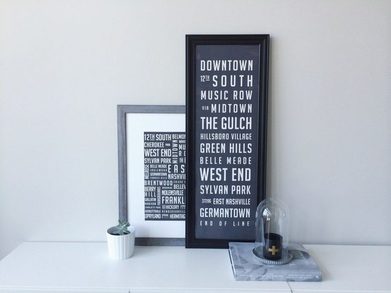 Nashville Neighborhood Poster / Large - 11.75 x 36 inches
