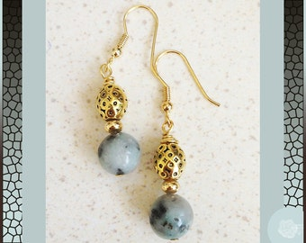 Hook Earrings, Green 10mm Round Kiwi Jasper Ornate Gold Pewter Balls 18K Gold Electroplated Surgical Steel Wires or 14K Gold-Filled Wires