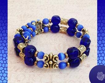 Wrap/Bangle Memory Stretch Bracelet Blue Catseye Cobalt Czech Beads TierraCast Fancy Gold Pewter Connectors Spacers Elements 1-Size Fits All