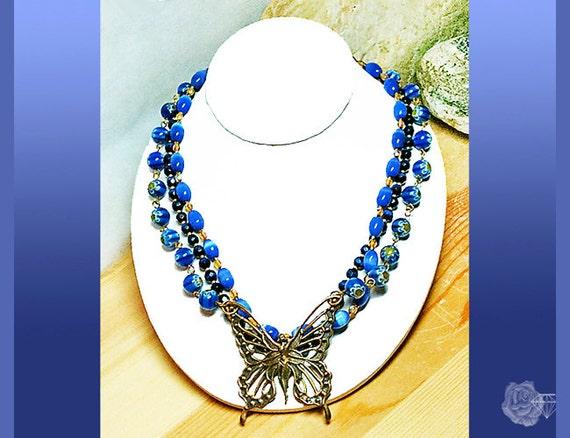 "16"" Necklace Blue Catseye Beads Millifiori Beads Antique Brass Openwork Butterfly Fairy Centerpiece Gold Bead Chain Wire Strung 3-Strands"