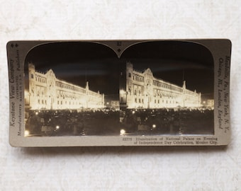 vintage stereocard photograph : keystone stereo card national palace mexico city paper ephemera mixed media