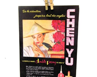 Vintage 1950s French Makeup Ad, Mid Century Make Up Ad, 1950s Paper Ephemera, L'Illustration