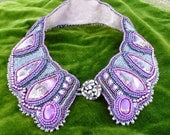 SALE purple bead embroidered shirt style collar