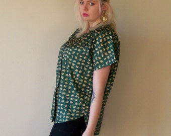 80s Emerald Elephant Silk Novelty Print Button Up L/XL
