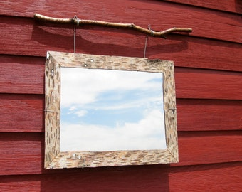 Birch Bark Lined Mirror Home Decor