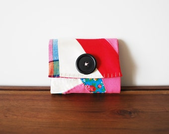 CLEARANCE--Quilted Fuchsia, Turquoise, White Cloth Business Card Holder with Black Button