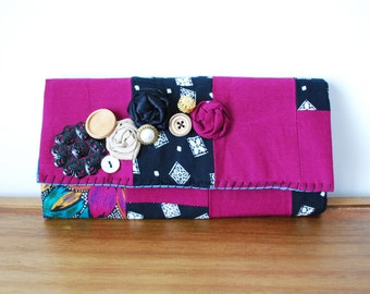 Plum, Black, White, Floral Cloth Patchwork Trifold Clutch Wallet with Rosettes and Buttons
