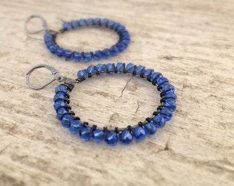 Cobalt Blue Earrings, Wire Wrapped Earrings, Hoop Earrings, Beaded Earrings, Bohemian Earrings, Bohemian Jewelry