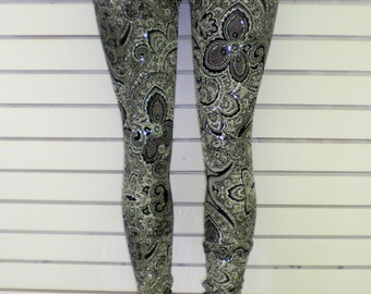 Glitter Brocade Print Leggings