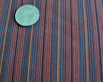 """Striped Corduroy Fabric - Rust / Brown with Blue and Yellow Stripes - 44"""" wide x 1 yard - More Available"""