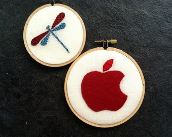 Dragonfly & Apple - hand-embroidered hoop art home decor wall wear by mlmxoxo