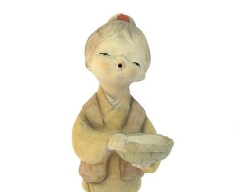 Vintage Figurine, Japanese Singing Girl, 1960s 1970s Pottery