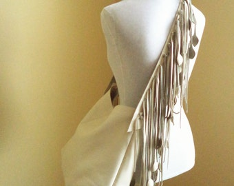 vanilla,  cream leather  large handbag, tote with leaf fringe by Tuscada. Made to order.