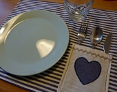 Personalized Cotton Placemat with Pocket and Heart.