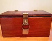 Vintage Handmade Lockbox with Brass Fixtures and Springlock Natural