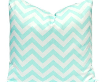 Decorative Pillow Cover - Mint Green Chevron Pillow Cover - Mint Green and White - Green Pillow Cover - Grean and White Cushion Cover