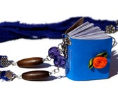 Blue Mini book necklace