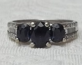 Vintage Blue Sapphire and Diamond Past, Present, Future Three Stone Engagement Ring 1.50 Carat Total Weight Size 7, 14K White Gold Setting