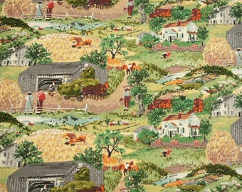 "Grandma Moses ""Harvest Time"" Unused Mint Condition Vintage Barkcloth - 23 x 21 Inches"