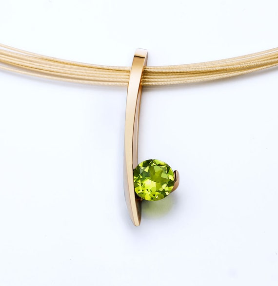 14k gold necklace, peridot pendant, 14k yellow gold, August birthstone, modern jewelry, green gemstone, luxury gift, christmas gift - 3458