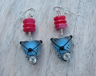 Earrings blue, coral, pink, sterling silver
