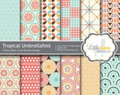 Digital Scrapbook Paper Pack, INSTANT DOWNLOAD, Commercial Use, Turquoise Blue, Coral Red, Orange, 8.5x11 and 12x12