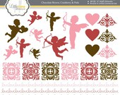 Valentine Clip Art, Valentine's Day Clipart, Cupid Clipart, Brocade Clipart, Romantic Clipart