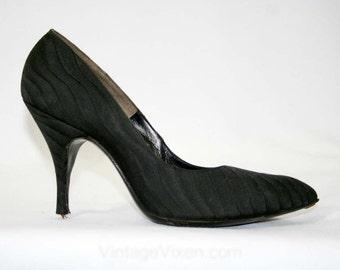 Gorgeous 1950s Stilettos - Black Silk - Size 6 1/2 A - Shoes - High Heels - De Liso Debs  41537-1