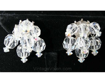 1950s Cut Glass Trembler Style Earrings - Clear 1950s Beaded Clip On Earring - Late 50s Early 60s - Mid Century Chic - Clip Earrings - 38445