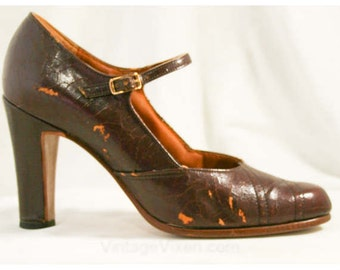Size 6 Shoes - Cognac Brown Leather Pumps - Unfortunate Condition - Pumps - Fall - Manmade Soles - For Theater - Vinyl - 6B - 40032-1