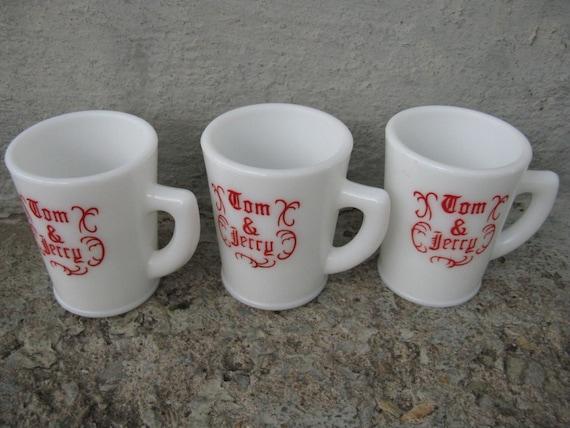 tom and jerry mugs milkglass eggnog mugs set of 3 mckee glass vintage ...