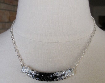 Black and White, Rhinestone Studded Curved Hollow Bar, Silver Chain, Black and Crystal Rhinestones, Adjustable up to 17 inches