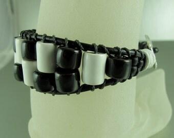 Ladder Bracelet, Greek Ceramic Beads, Black and  White, Black Greek Leather Cord. Adjustable.