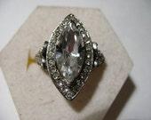 Vintage Marquise-Cut Rhinestone Ring, Adjustable
