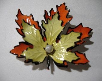 Vintage Yellow and Orange Enameled Maple Leaf Brooch
