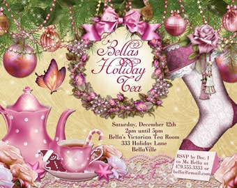 Victorian Christmas Tea Party Invitation, Holiday Tea Party, Tea Party, Christmas Tea Invitations