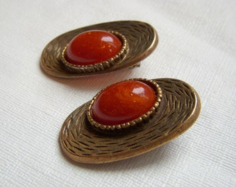 Les Bernard Oval Earrings with Rust Cabochons - Modernist