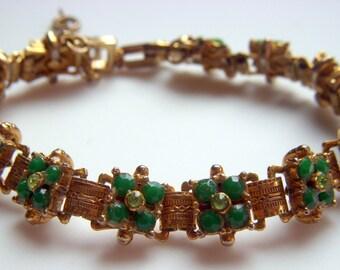 Green Glass and Rhinestone Bracelet