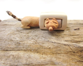 Made to order, Miniature drawer with a cute fox, wood carving, wood box, Wood sculpture, reclaimed wood, Personalized Gifts, unique gift