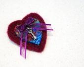 Purple Brooch Red Wine Brooch Dark Red Brooch Blue Brooch Heart Shaped Brooch