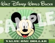 Disney bucks, personalized diy disney dollars, mickey dollars, minnie mouse dollars, disney dollars, diy print money, play money